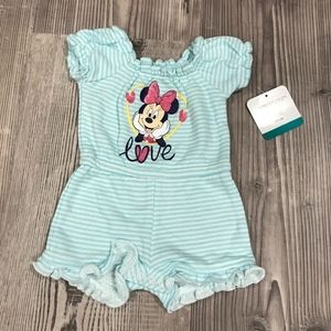 Minnie Mouse French Terry Blue Stripe Romper